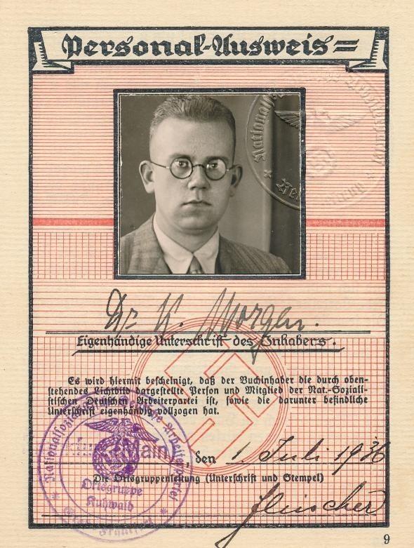Legitymacja NSDAP Konrada Morgena