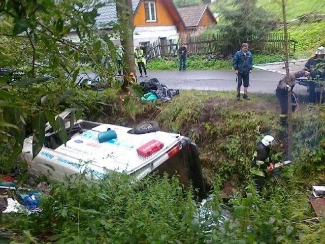 Auto dachowało w rzece Młyńskiej