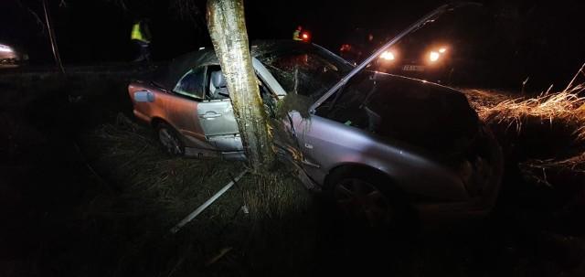 Do wypadku doszło na drodze 163 koło miejscowości Stramnica. Samochód osobowy marki mercedes z niewyjaśnionych przyczyn zjechał z drogi i uderzył w drzewo. Dwie osoby zostały ranne.