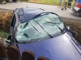 Wypadek w Sokolnikach. Samochód uderzył w drogowy przepust, trzy osoby poszkodowane. Na miejscu pracują służby