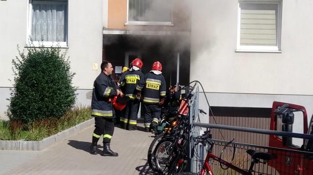 Pożar bloku przy ul. Śmiechowskiej w Wejherowie