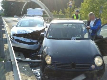 Wypadek radiowozu w Gliwicach