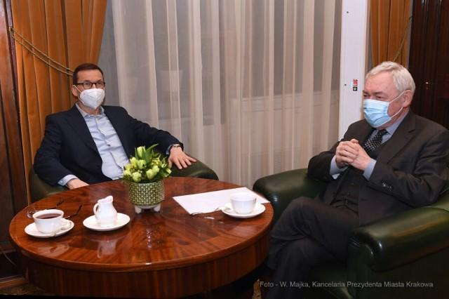 Premier Mateusz Morawiecki na spotkaniu z Jackiem Majchrowskim