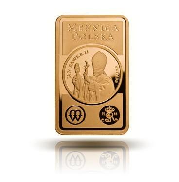 Prezent na komunięSztabka złota z wizerunkiem Papieża Jana Pawła II - Na tle elektronicznych gadżetów, będzie to na pewno oryginalny prezent i dobra inwestycja na przyszłość. Ceny zaczynają się od 180 zł za gram.