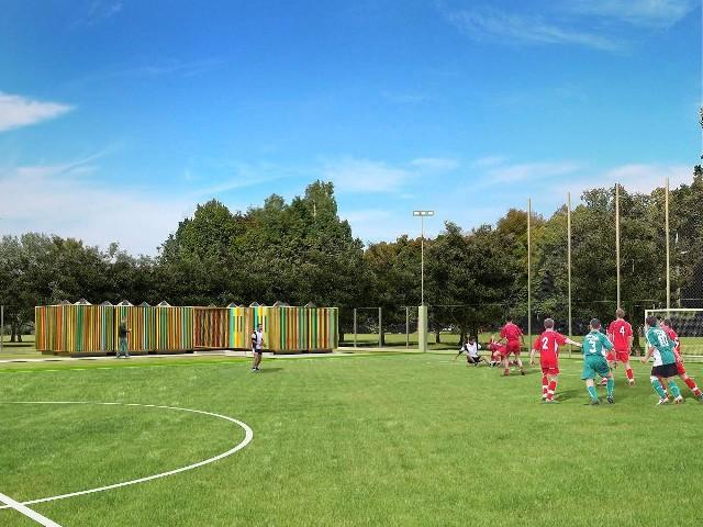 Projekt centrum sportowego w Oleśnie. Boisko sportowe.