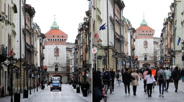 Kraków. Z lewej lockdown 2020, z prawej lockdown 2021. Znajdź różnice