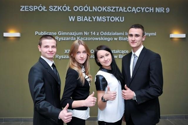 Gabriel Mackiewicz, Justyna Pikus, Urszula Doroszkiewicz, i Mateusz Zaniewski pisali próbną maturę z języka polskiego.
