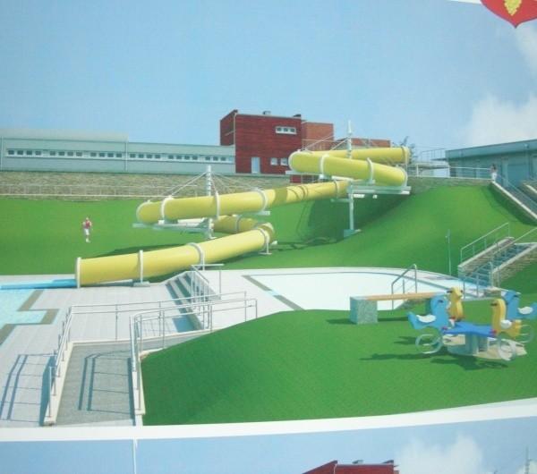 Powstaną trzy nowe niecki basenów, zjeżdżalnia, osobny budynek zaplecza z szatniami i sanitariatami.