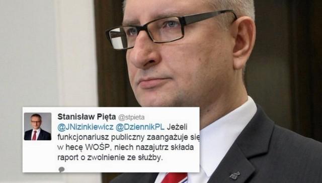 Stanisław Pięta zagroził funkcjonariuszom publicznym ws. WOŚP