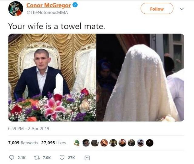 McGregor o żonie Nurmagomiedowa