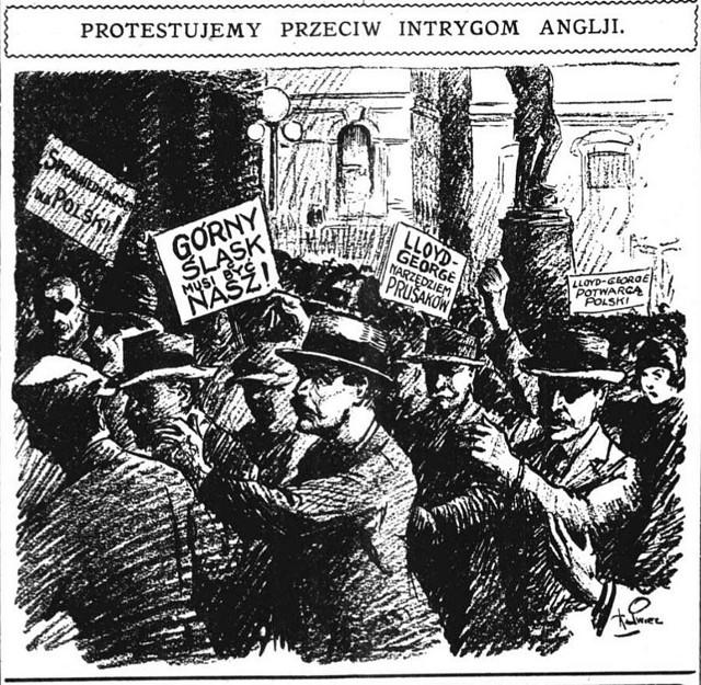 """Górny Śląsk w 1921 roku okiem karykaturzysty """"Dziennika Chicagoskiego"""". Ta polonijna gazeta jednoznacznie popierała sprawę polskąZobacz kolejne zdjęcia. Przesuwaj zdjęcia w prawo - naciśnij strzałkę lub przycisk NASTĘPNE"""
