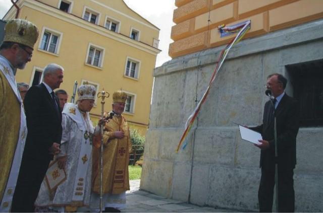 Czerwiec 2013 r. Uroczyste odsłonięcie tablicy z nazwą ul. bpa Jozafata Kocyłowskiego w Przemyślu.