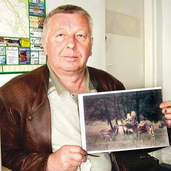 """Mieczysław Struzik, prezes Koła Łowieckiego """"Łoś"""" z Mielca pokazuje zdjęcie danieli. Niedługo każdy chętny będzie mógł zobaczyć te zwierzęta na żywo."""