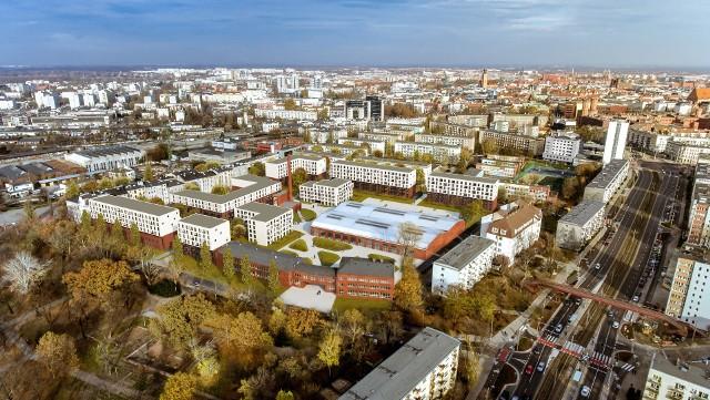 Wizualizacja osiedla w ramach programu Mieszkanie Plus przy ulicy Kolejowej we Wrocławiu.