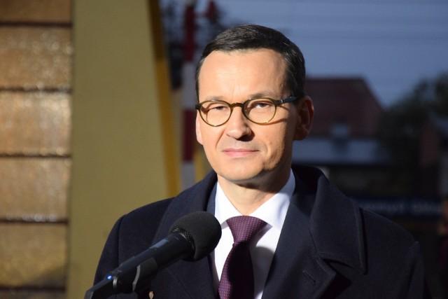 Premier Mateusz Morawiecki podczas wizyty w Przemyślu.