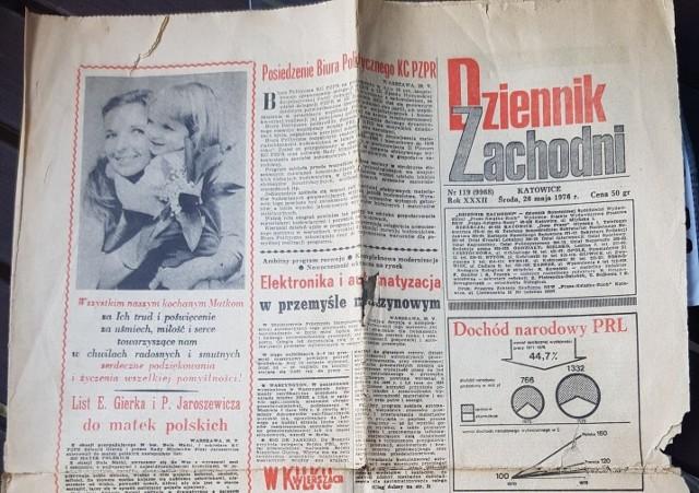 Pierwsza strona DZ z 26.05.1976 roku