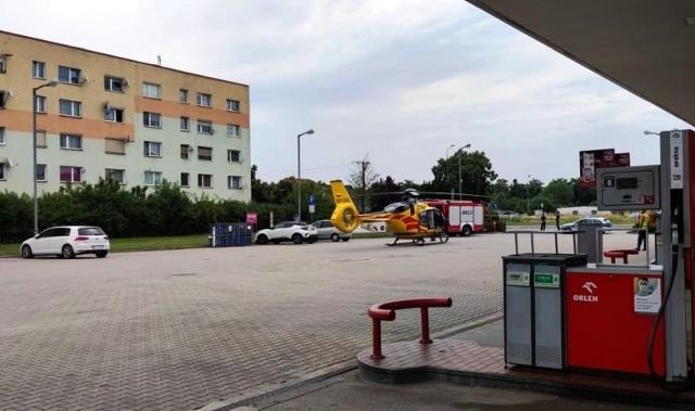 Helikopter LPR przetransportował ranną kobietę do szpitala w Opolu.