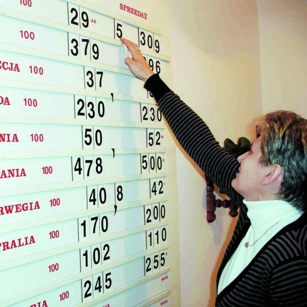 - Kilka razy dziennie zmieniamy kursy na tablicy, bo sytuacja na rynku jest bardzo dynamiczna - mówi Bożena Doliwa