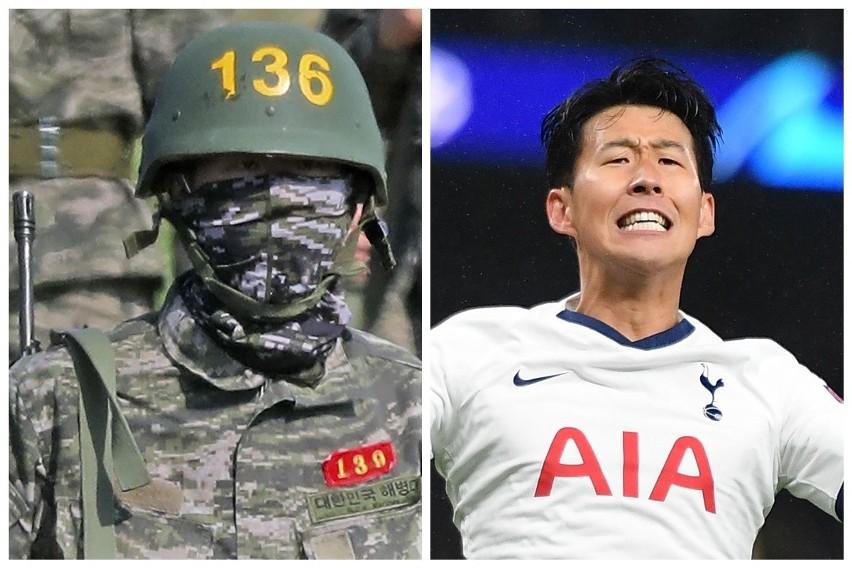 Son Heung-min z karabinem na ramieniu maszeruje do bazy
