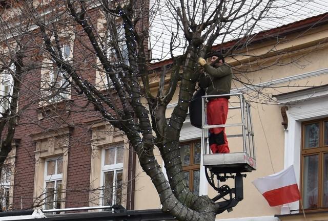 """Na Rynku w Oświęcimiu przy Urzędzie Skarbowym 14 listopada zapaliły się światełka bożonarodzeniowe na jednym z drzew. Na razie to tylko """"próba sprzętu"""". Na stałe zaświęcą planowo na początku grudnia."""