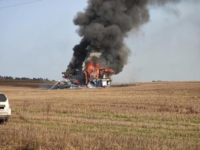 Pożar maszyny rolniczej