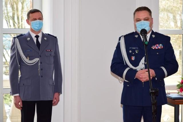 Od lewej młodszy inspektor Stanisław Sekuła i nadinspektor Henryk Moskwa