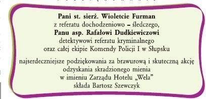 Słupski hotelarz podziękował policjantom za złapanie złodzieja telewizora. Ogłoszenie, które ukazało się w środę, 20 lutego w Głosie Pomorza.