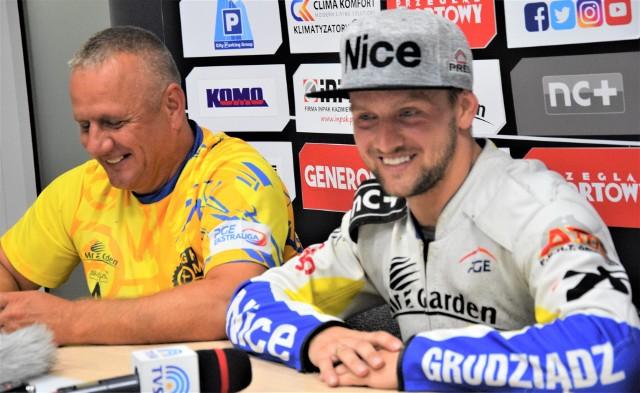 Artiom Łaguta, lider MrGarden GKM Grudziądz i Robert Kempiński, trener MrGarden GKM