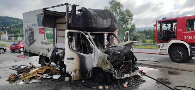 Pożar auta dostawczego w Tęgoborzy (gm. Łososina Dolna)
