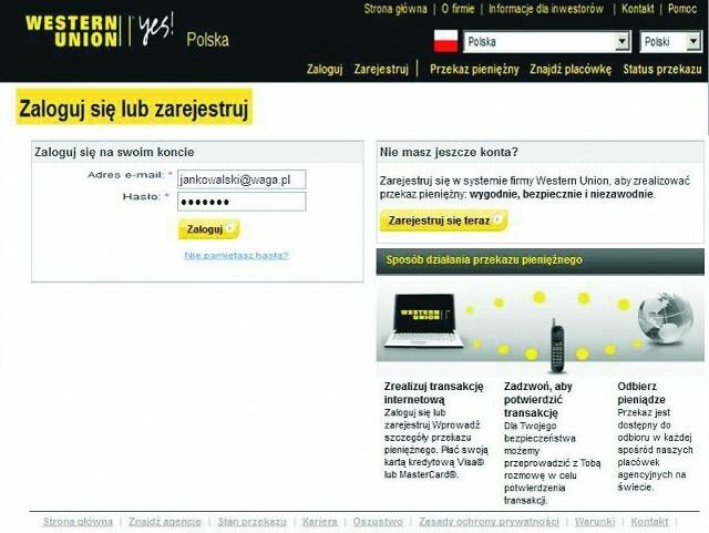 Strona, na którą przekierowują oszuści bardzo przypomina autentyczna witrynę Western Union.