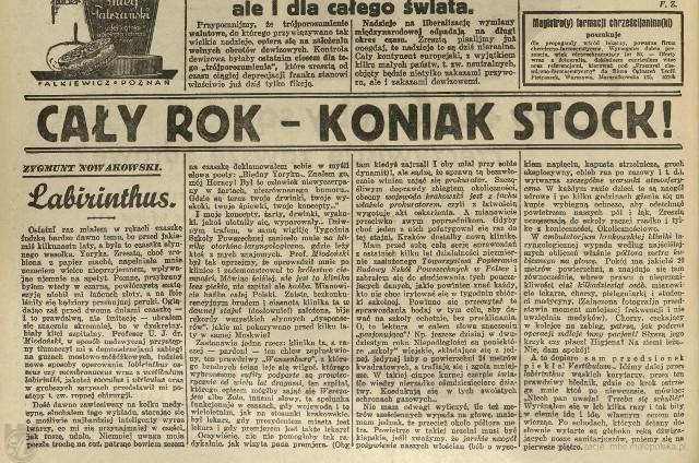"""Legendarny """"jeden felieton"""", który zbudował klinikę istniał naprawdę, To """"Labirinthus"""" z 1937 roku. Fragment egzemplarza """"Ilustrowanego Kuryera Codziennego"""" dostępnego w Małopolskiej Bibliotece Cyfrowej: http://mbc.malopolska.pl/dlibra/publication?id=73992&tab=3"""