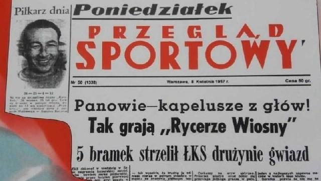 Tak wyglądała pierwsza strona Przeglądu Sportowego 8 kwietnia 1957 roku