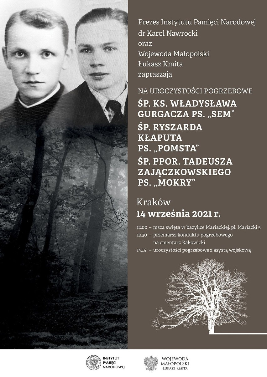 Kraków. 14 września odbędzie się pogrzeb Żołnierzy Wyklętych. Zostaną pochowani na cmentarzu Rakowickim