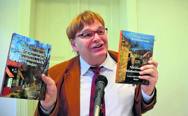 """Niezłomni białostoczanie (z prawej) to kontynuacja poprzedniej książki """"Zapomniani bohaterowie białostockich Bojar"""". Obie napisał Zbigniew Tomasz Klimaszewski."""