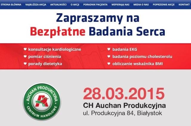 """W sobotę, w godzinach 9-17, w CH Auchan Produkcyjna w Białymstoku odbędzie się akcja medyczna w ramach ogólnopolskiej kampanii profilaktyki chorób układu krążenia """"Teraz Serce!""""."""