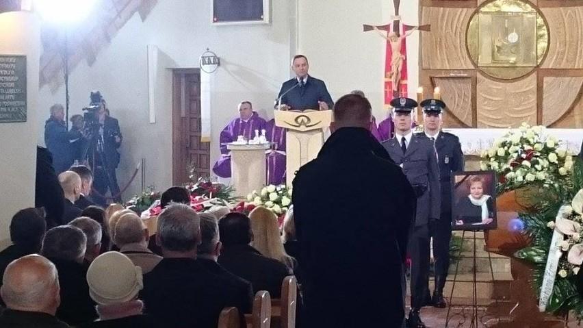 Prezydent Andrzej Duda podczas pogrzebu prof. Zyty Gilowskiej