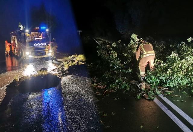 Duża część interwencji dotyczyła powalonych drzew. Siła wiatru, który towarzyszył burzom w regionie była ogromna.