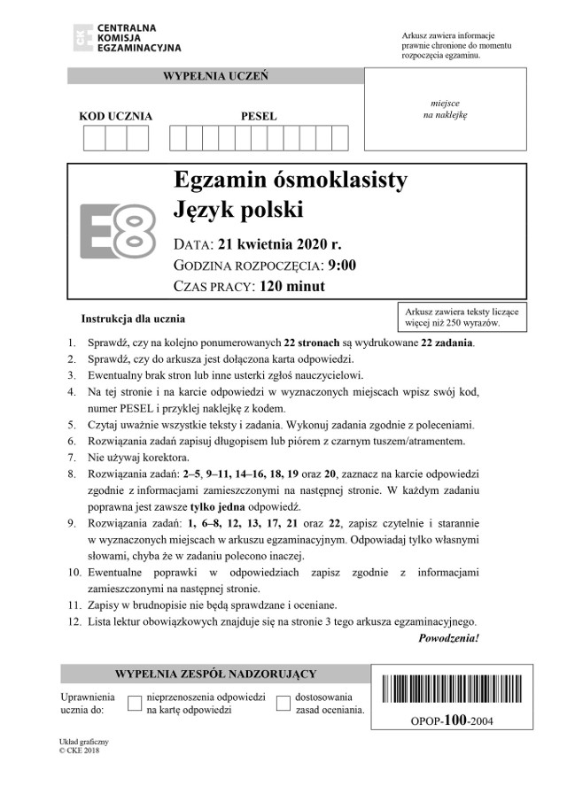 Egzamin ósmoklasisty j. polski 2020 - arkusze CKE