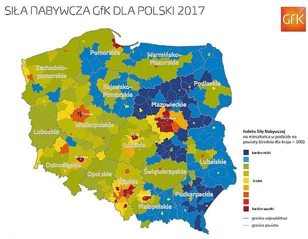 Siła nabywcza w Polsce - dane GfK