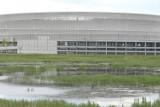 Wrocław: Co dalej z dziurą przy stadionie? Rozmowy trwają, a w stawie przy arenie rechoczą żaby