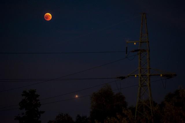 Całkowite zaćmienie Księżyca 2018 - okolice Brzegu.