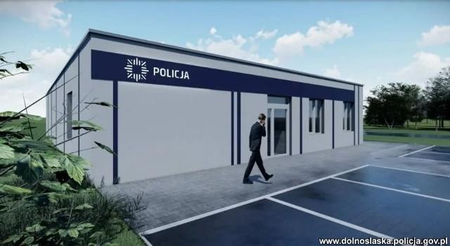 Wizualizacja pierwszego w Polsce posterunku policji z gotowych modułów. Powstaje w Prochowicach.