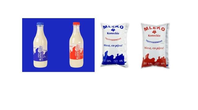 Nasze Dobre Świętokrzyskie 2015. Zestaw mlek koneckich w folii i butelkach z OSM w Końskich