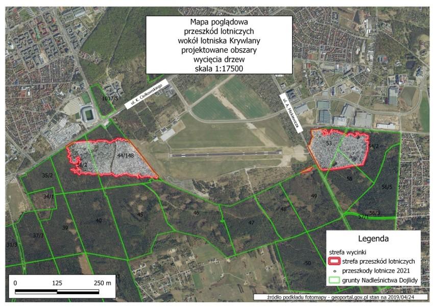 Mapa poglądowa przeszkód lotniczych wokół lotniska Krywlany