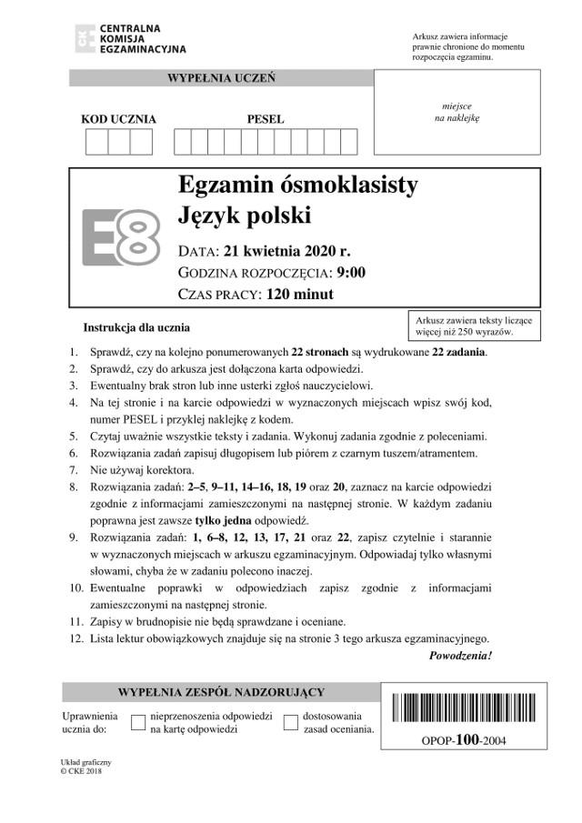Egzamin 8-klasisty 2020 j. polski: odpowiedzi, arkusz, lektury