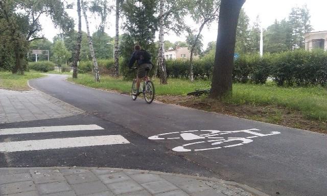 W tym tygodniu na drodze rowerowej wzdłuż ul. Zgierskiej pojawiły się oznaczenia, co oznacza, że można nią już bezpiecznie jeździć.