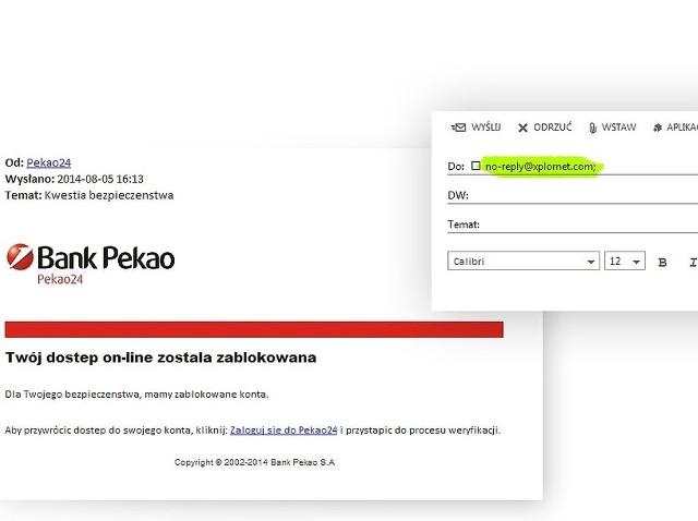 """Pod nazwą """"Pekao24"""" kryje się podejrzany adres email: @xplornet.com, z którego została przysłana wiadomość"""