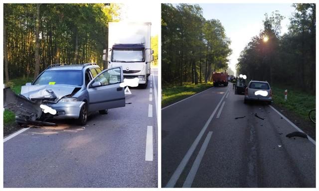 Łubin Kościelny. Wypadek zablokował DK66. Jedna osoba poszkodowana
