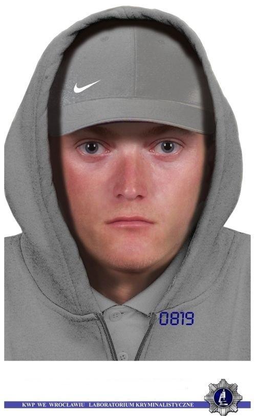 Portret pamięciowy mężczyzny podejrzanego o napad na placówkę bankową w Głogowie.