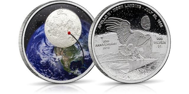 Srebrna moneta z okazji 50. rocznicy lądowania na księżycu.